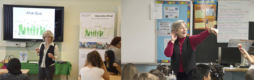 Kathie diStefano teaching Operation Trash