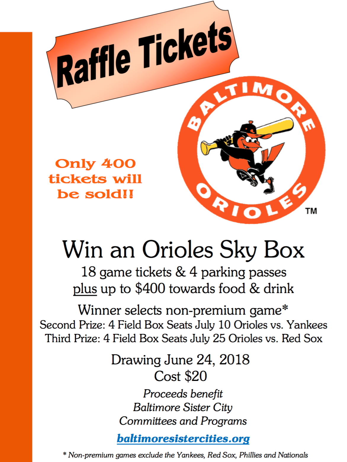 picture regarding Orioles Printable Schedule referred to as Sister Towns Raffle: Get an Orioles Sky Box! - Baltimore