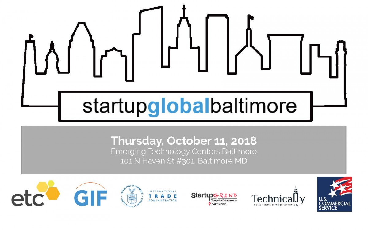 Startup Global Baltimore - drawing of cityscape, with participant logos