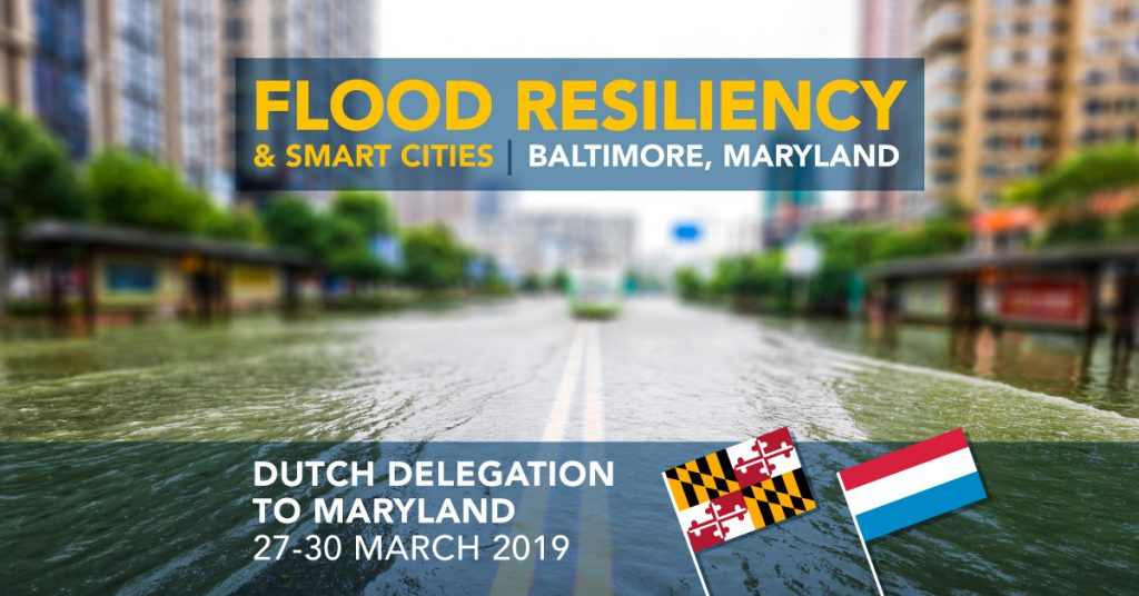 Flood Resiliency & Smart Cities | Baltimore, Maryland | Dutch Delegation to Maryland 27-30 March 2019 (image of flooded city street with Maryland and Netherlands flags)