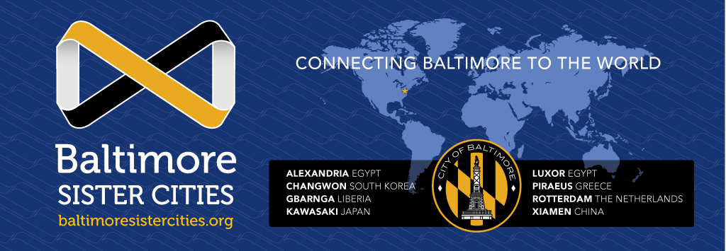 B.S.C. logo, map of world, Baltimore city seal. Sister cities: Alexandria, Luxor, Changwon, Gbarnga, Kawasaki, Piraeus, Rotterdam, Xiamen