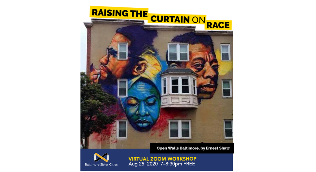 Raising the Curtain on Race (photo of mural on row home by Ernest Shaw from Open Walls Baltimore, depicting Malcolm X, musician Nina Simone and writer James Baldwin)