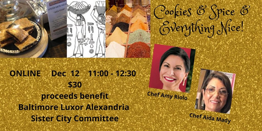 Photo collage with Egyptian cookies, ancient Egyptian drawing, Egyptian spices. Photos of the two chefs.