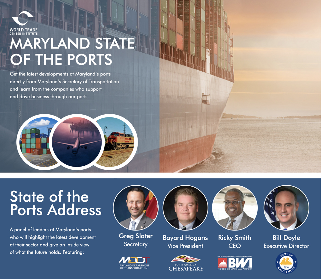 Photos of container ships, containers, plane, and train; photos of the panel speakers