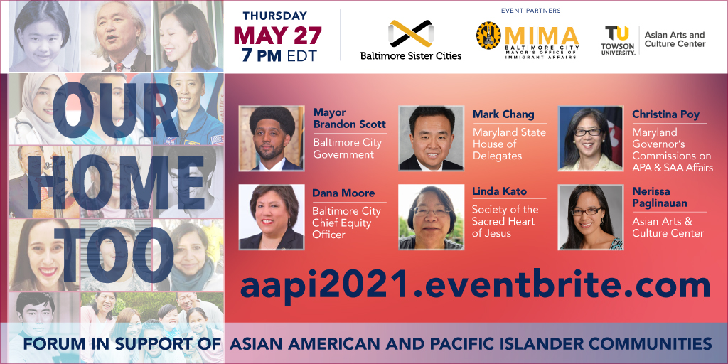 Photo collage of Asian Americans; Photos of the speakers; event title; partner logos