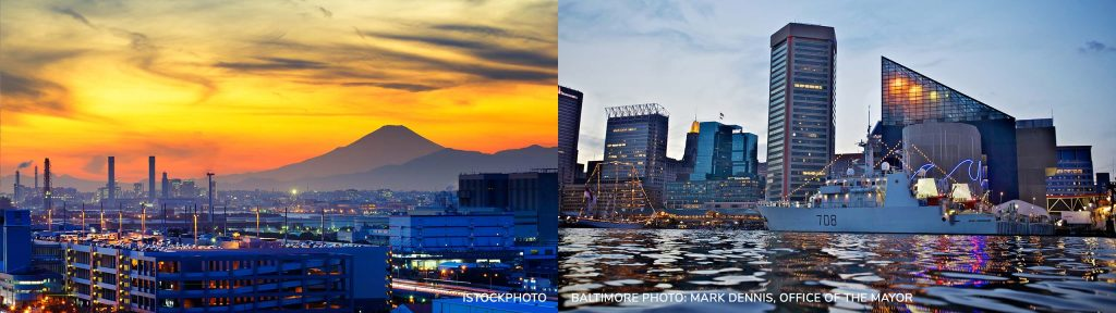 Photo of Kawasaki at sunset with Mount Fuji in background; photo of Baltimore Inner Harbor waterfront at twilight with skyline, water, and boat.