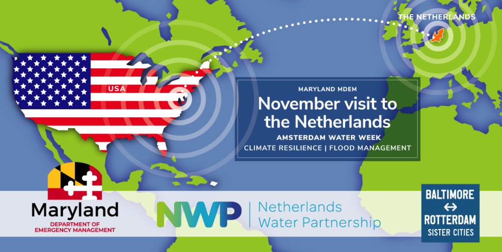 Map showing USA and the Netherlands; logos of MDEM, NWP, and BRSCC. Text: November visit to the Netherlands | Amsterdam Water Week | Climate Resilience | Flood Management